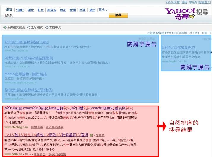 Yahoo搜尋引擎自然排序的搜尋結果